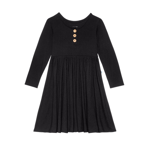 Solid Ribbed - Black - Wood Button Long Sleeve Twirl Dress