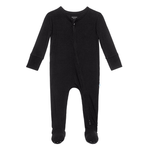 Footie Zippered One Piece-Black Ribbed