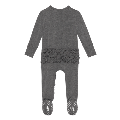 Footie Ruffled Zippered One Piece - Charcoal Heather