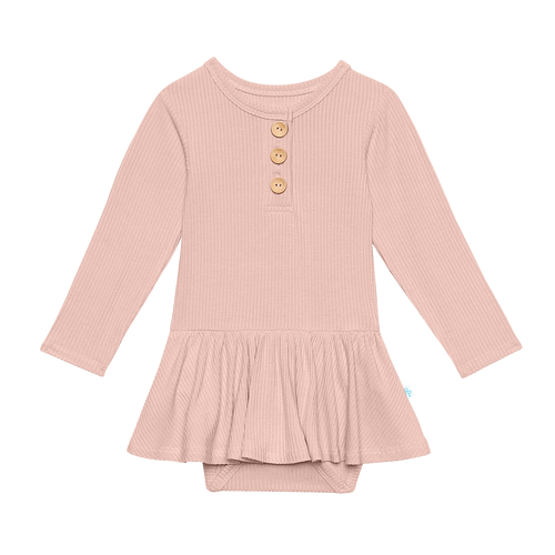Solid Ribbed - Sweet Pink - Long Sleeve Henley with Twirl Skirt Bodysuit