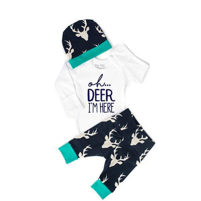 0-3 Month Long Sleeve Outfit- Buck Navy and Teal Oh Deer I'm Here