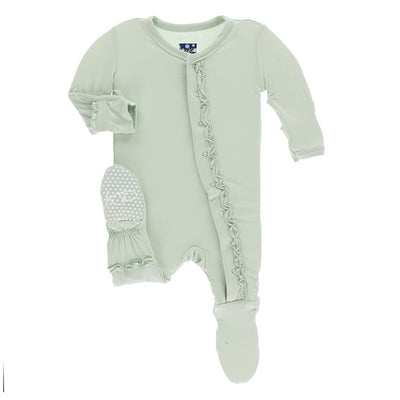 Preemie Muffin Ruffle Footie in Aloe