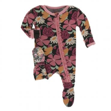 Print Muffin Footie with Zipper - Zebra Market Flowers