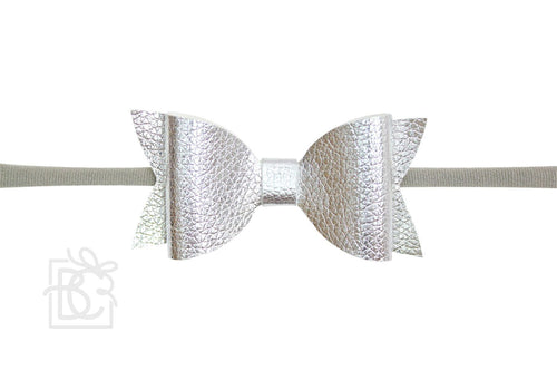 Pantyhose Headband- Leather Bow Silver