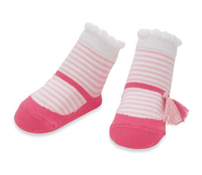 Pink Stripe Tassel Socks