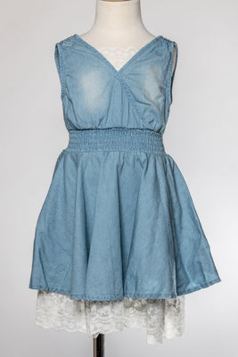A-Line Chambray Dress with Lace