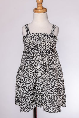 Button Down Open Back Leopard Dress