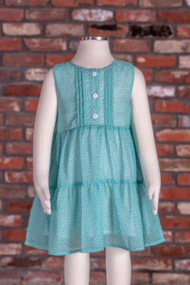 Pleated Mini Polka-Dot Dress - Turquoise