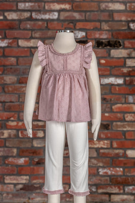 Eyelet Tunic Set -Blush