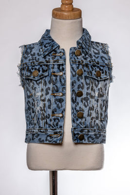 Leopard Printed Denim Vest