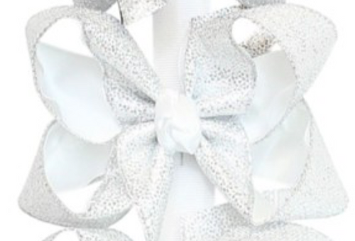 Glitter Dot Bow- Silver/White
