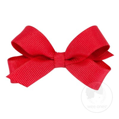 Tiny Classic Crossgrain Hair Bow-Red