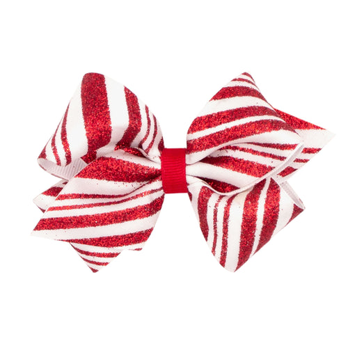 Small Fancy Glitter Holiday Bow- Red and White Stripes