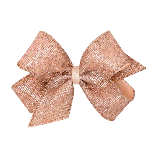 King Geometric Glitter Overlay Bow- Rose