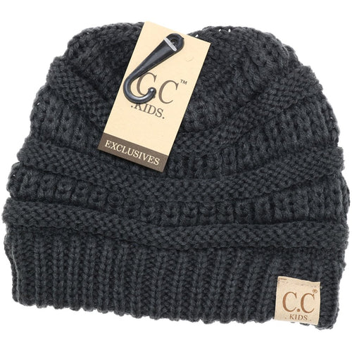 Kids Solid CC Beanie-Dark Grey