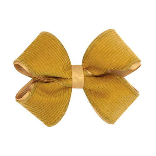 Small Corduroy Overlay Bow-Gold
