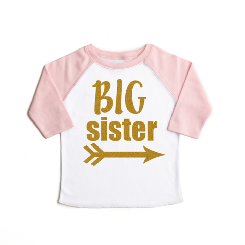 Light Pink Big Sister Raglan - Gold Shimmer