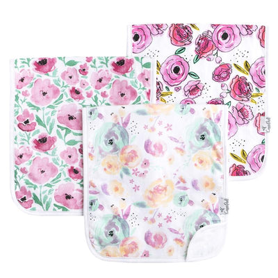Set of Three Premium Burp Cloths - Bloom