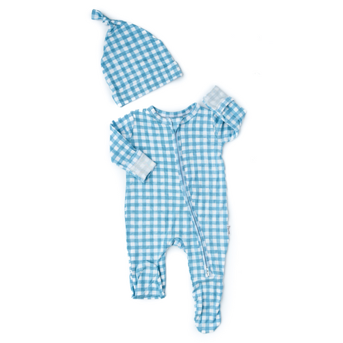 Connor Blue Gingham Newborn Footed Zip and Knotted Hat