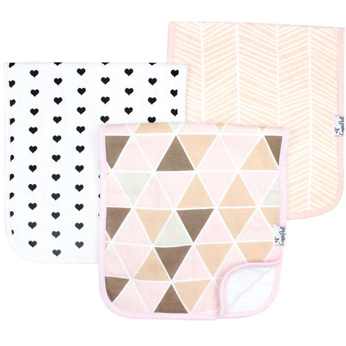 Set of Three Premium Burp Cloths - Blush