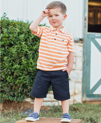 Peach Stripe Polo