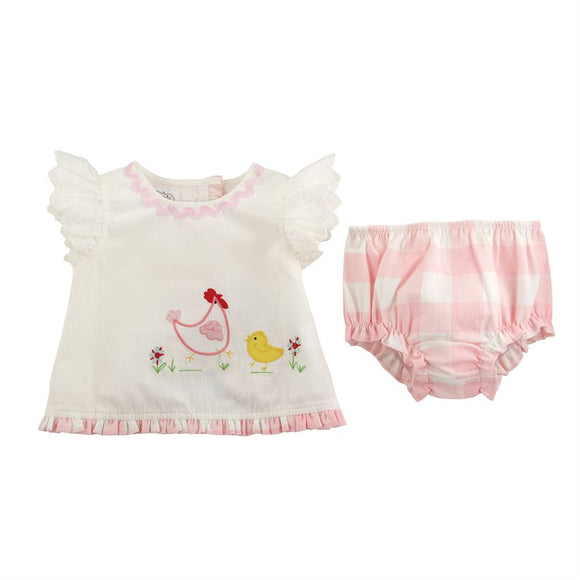 Chicken Pinafore & Bloomer Set