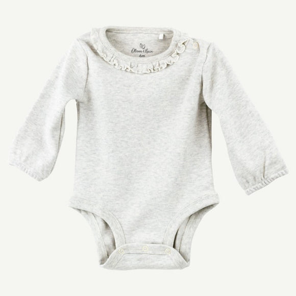 Oatmeal Heather Long Sleeve Bodysuit with Ruffle Collar