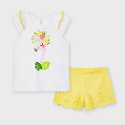 Yellow Flamingo Embroidered Short Set