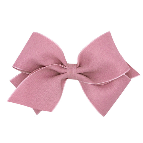 King Canvas Linen and Satin Overlay Bow- Rose