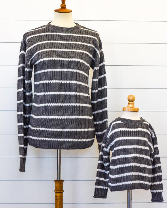 Brooke Mommy and Me Sweater - Gray and White Striped (Mommy)