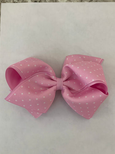 Medium Dot Print Grosgrain Bow-Seashell