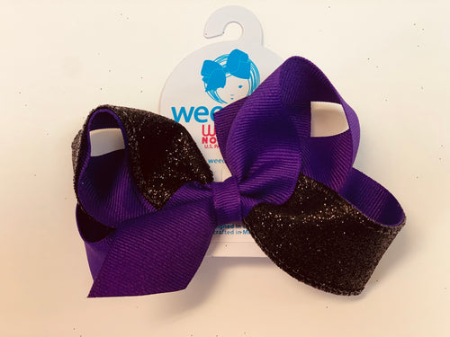 Medium 2 Tone Glitter Bow- Purple & Black