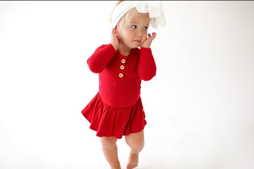 Solid Ribbed - Crimson - Long Sleeve Henley with Twirl Skirt Bodysuit