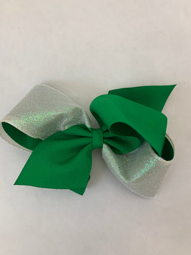 King 2 Tone Glitter Bow-Green and White