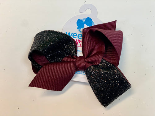 Medium 2 Tone Glitter Bow- Burgundy & Black