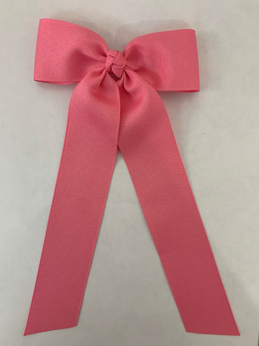 Medium Grosgrain Bow with Streamer- Hot Pink