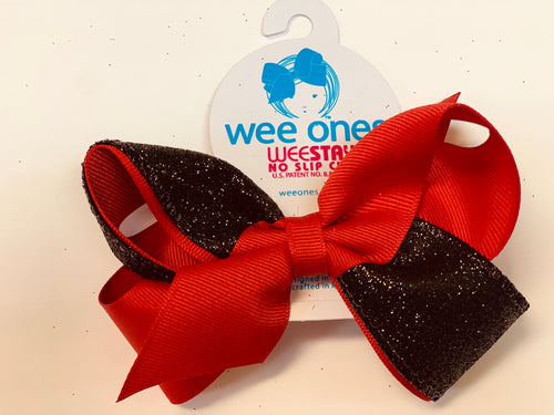 Medium 2 Tone Glitter Bow- Red & Black