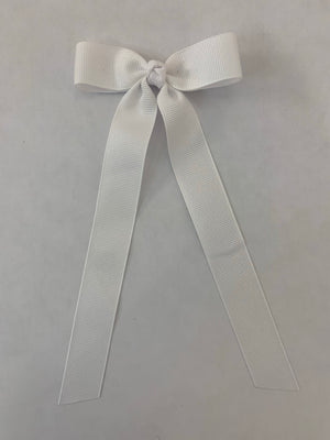 Mini Grosgrain Bow with Streamer- White