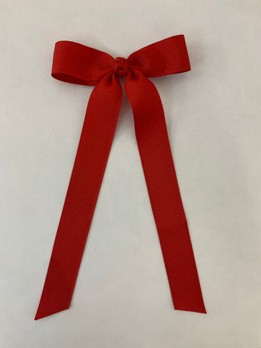 Mini Grosgrain Bow with Streamer- Red