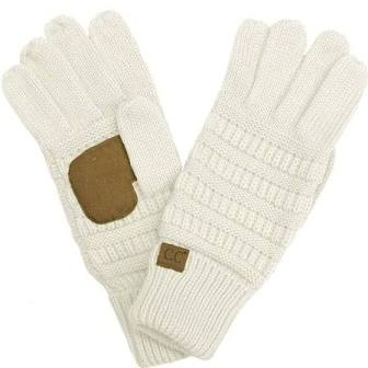 CC- Cream Quad Touch Screen Smart Cellphone Finger Tips Warm Soft Gloves