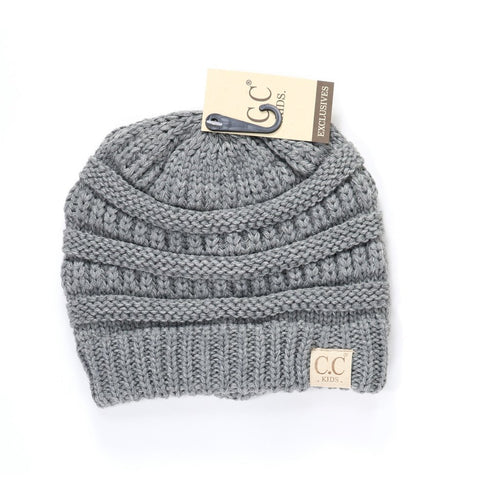 Kids Solid CC Beanie-Light Grey