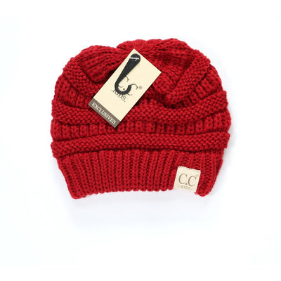Kids Solid CC Beanie-Red