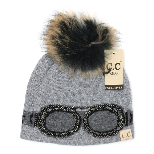 Kids Goggle Rhinestone CC Beanie-Light Grey