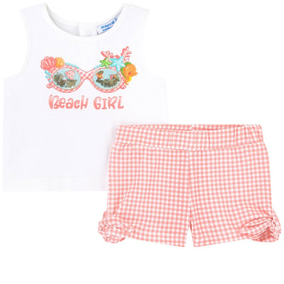 Pink Beach Girl Print Shorts Set