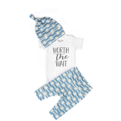 Worth the Wait Blue Geo Newborn Outfit-Short Sleeve