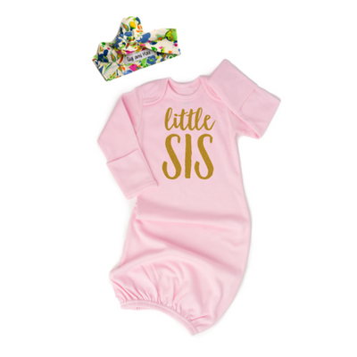 Light Pink Little Sis Gold Shimmer - Gown and Headband NB