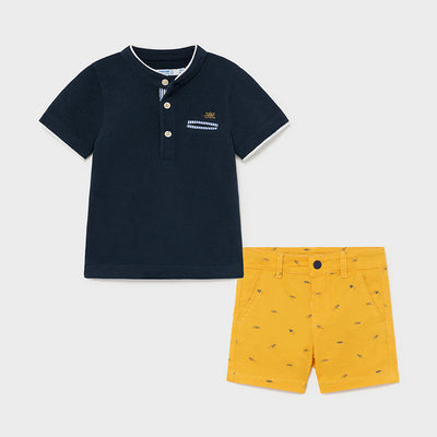 Mandarin Polo Shirt Set- Baby Boy