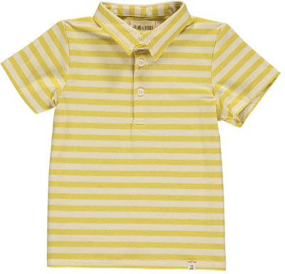 Yellow and Cream Stripe Men's Polo