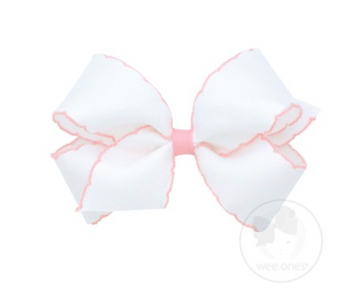 Medium Moonstitch Bow - White and Light Pink