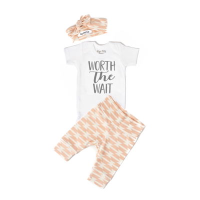 Worth the Wait Pink Geo Newborn Outfit-Short Sleeve